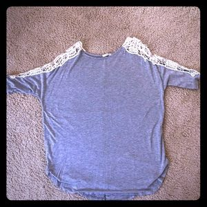 Boho Long shirt with lace sleeves.